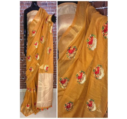 Latest Modern Multi Color Linen Saree with embroidered work all over