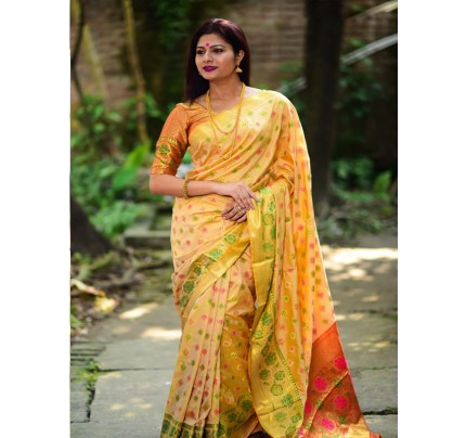 Rich Look Yellow Colour Soft Banarasi Silk Weaving Work Saree with zari woven pallu