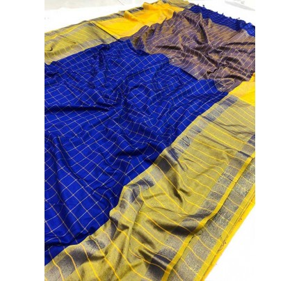 Wedding Designer Blue Color Pure Soft Silk Upada Saree