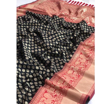 Festival Look Black   Colour  Pure Jacquard Resham Zari Work Vibrant 2 Colours Saree