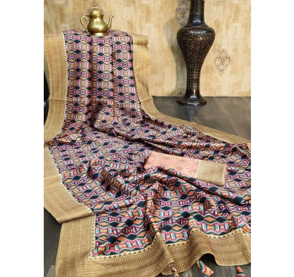 Beautiful  Multi Color Tussar Silk Saree With All Over Exclusive Prints With Lace Border