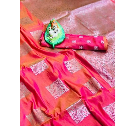 Graceful combination for Wedding Look Peach Color Lichi Silk Zari Weaving Saree