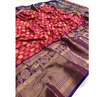Wedding Designer Multi Color Kanchipuram Silk Saree with Pure Golden Coin Circles