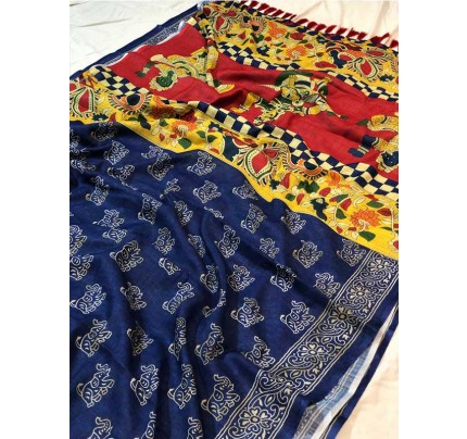 Traditional Look Blue  Color Soft Linen Saree With Digital Printed