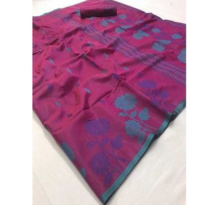 New Trending Pink Color Linen Cotton Silk on Silk Base  Saree