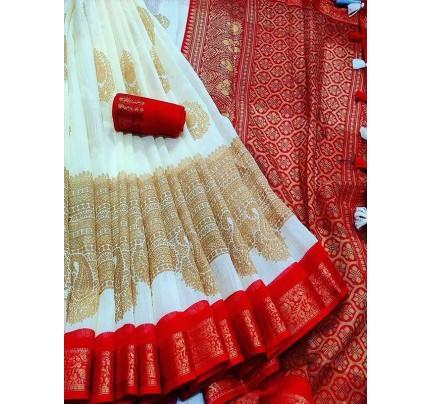 White Red Durga Puja Special Printed Zari Pattu Silk With Rich Print Look Saree