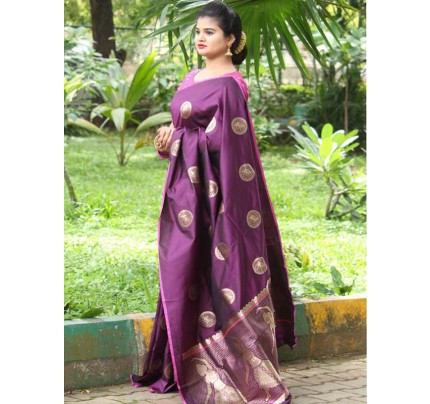 Latest Traditional Look Purple Color Soft Banarasi Silk Rich Pallu With Checks And Peacock Butta And Full Saree Peacock Butta Saree