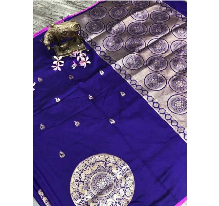 Stunning Look Blue Color Banarsi Silk Fabric Saree