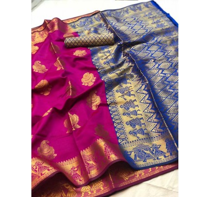 Pretty Look Pink Color Banarasi Silk Saree with Zari work