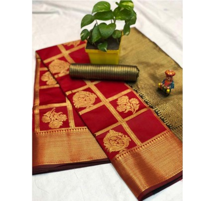 Pretty Look Red Color Banarasi Silk Fabric with Zari work Kanchipuram Saree