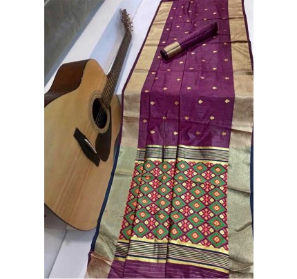 Stunning Wine Color Soft Cotton Silk Saree with weaving