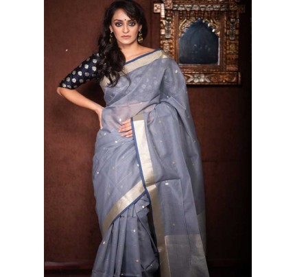 Stunning Grey Color Linen Silk Saree With Silver Zari Checks