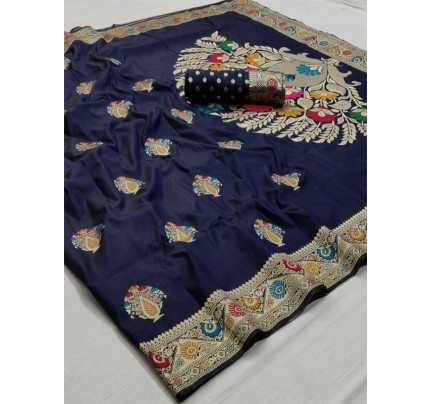New Eye Catcher Blue Color Soft Weaving Silk With Exclusive Meena Work Saree