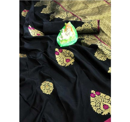 Stunning Look Black Colour Soft Banarasi silk weaving saree with pure zari woven pallu