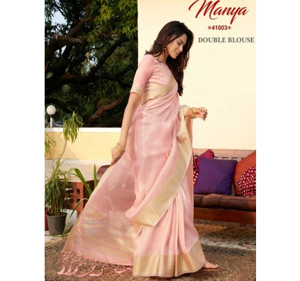 Pretty Look Peach Color Tissue Zari Saree with pretty weave