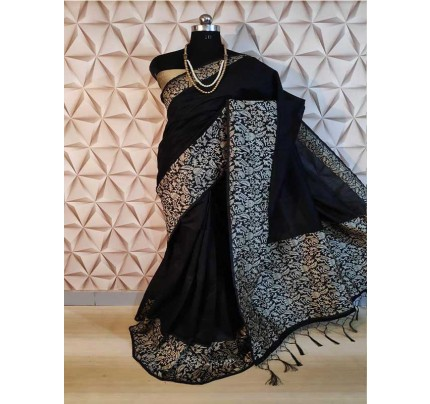 New Eye Catcher Black Color Raw Silk Saree With mutli color border