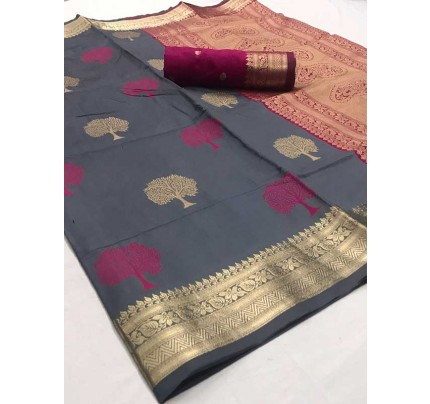 Latest Traditional Look Grey Color Soft Silk Weaving Saree