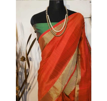 New Eye Catcher Orange Color Raw Silk Saree With mutli color border
