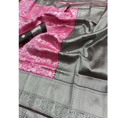 Wedding Designe Pink Color Soft Silk Saree With Silver Zari Design