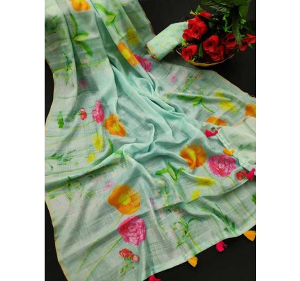 New Trending Multi Colour Soft Cotton With Digital Print And Zari Lining All Over Saree