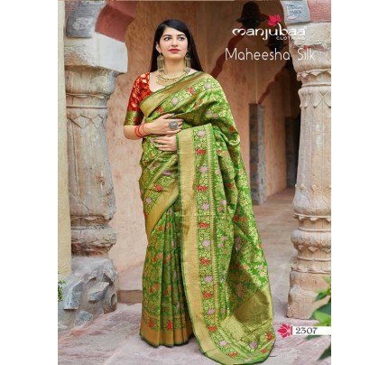 Stunning Look Green Colour Soft Banarasi silk Pure Paithani Silk saree