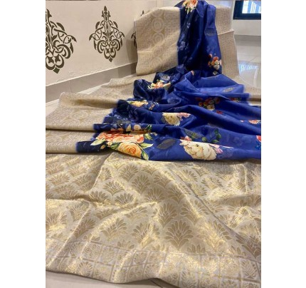 Elegance Look Blue Colour Banasari Handloom Weaving Silk Saree