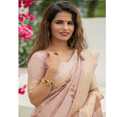 New Eye Catcher Peach Color Soft Mulberry Silk Weaving Saree with Exclusive zari woven