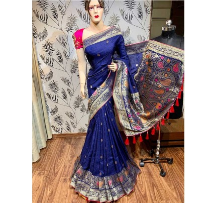 Latest Traditional Look Blue Color Pure Natural Dola Silk Saree  With Heavy Embroidery Work Blouse