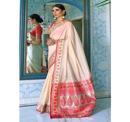 Wedding Designer Cream Color Pure Silk weaving Saree