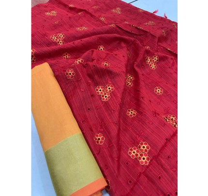 Attractive Look Red Colour Banglori Raw Silk Saree with Embroidered Cut Work