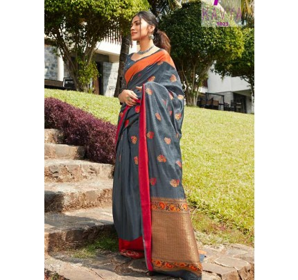 Eye-Catching Look Grey color Soft Linen Silk weaving Saree