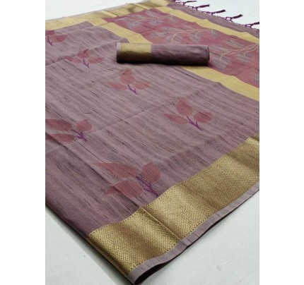 Pretty Look Purple Color Soft Handloom Weaving Silk Saree With Tassels