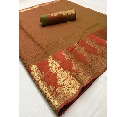 Stunning Look Brown Color Dola Dodiya Cotton Silk Saree
