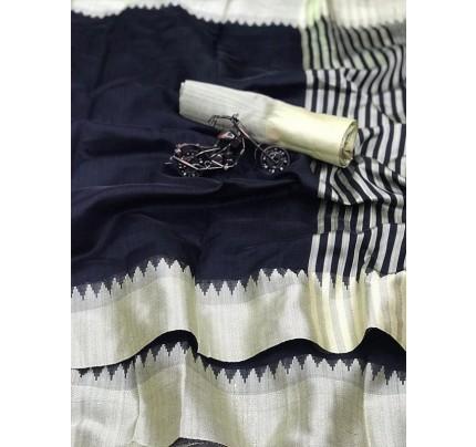 Plain Style Black Raw Silk Saree with Lining Pallu