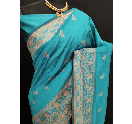 Stylish Look SkyBlue Colour Row Silk Weaving Saree With Rich Pallu
