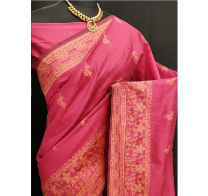 Stylish Look Pink Colour Row Silk Weaving Saree With Rich Pallu