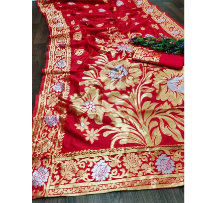 Fancy Look Lichi Soft Silk weaving Saree with Blouse