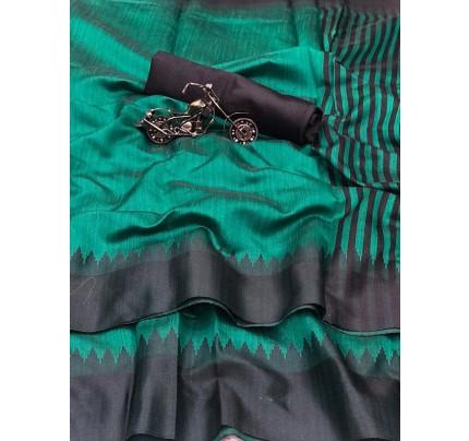 Plain Style Cyan Raw Silk Saree with Lining Pallu