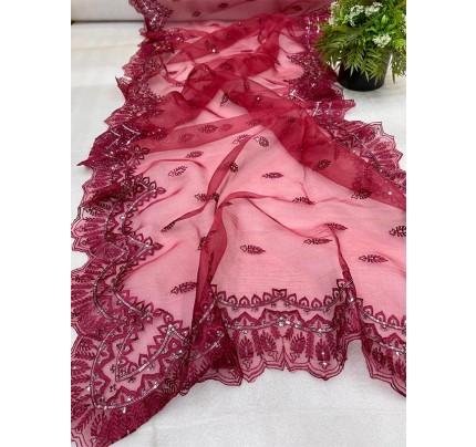 Modern Look Organza Silk Saree with sequencing  Border & Sattin Plain blouse