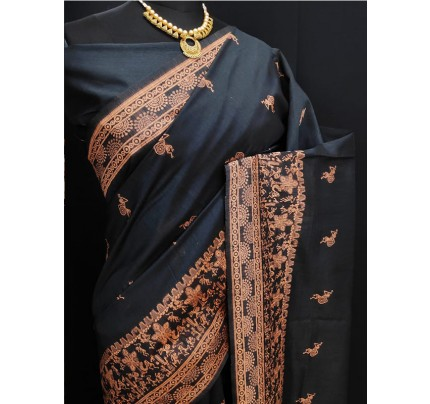 Stylish Look Black Colour Row Silk Weaving Saree With Rich Pallu