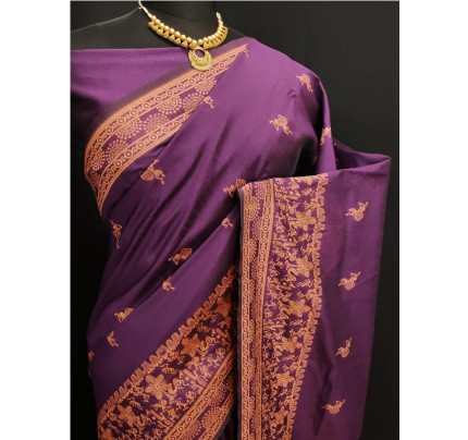 Stylish Look Purple Colour Row Silk Weaving Saree With Rich Pallu