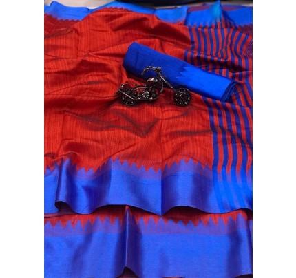 Plain Style Red Raw Silk Saree with Lining Pallu