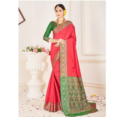 Traditional Look Peach Color Soft Pure Silk weaving Saree