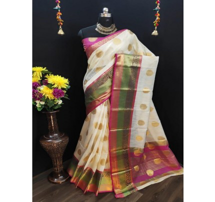 Unique Style white Color Pure Linen Saree with AllOver Jacquard Butta