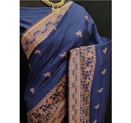 Stylish Look Blue Colour Row Silk Weaving Saree With Rich Pallu