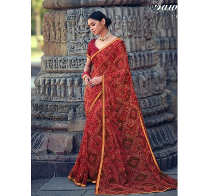 Celebrity Style Georgatte Saree with Fancy Lace