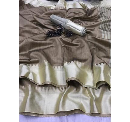 Plain Style Raw Silk Saree with Lining Pallu