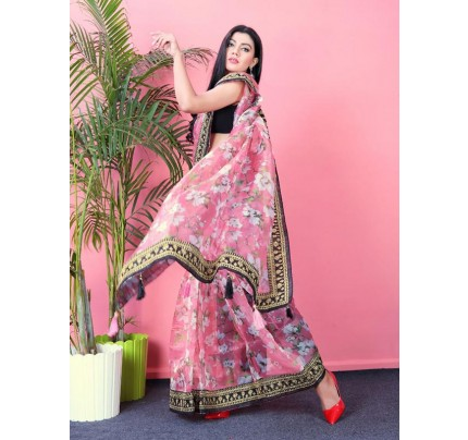 Attractive Look Organza Printed Saree all over sequences lace border & attached latkan on pallu