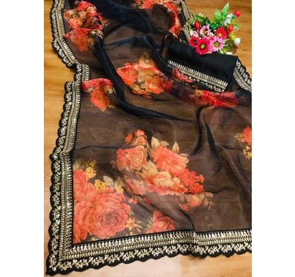 Premium Organza Printed Saree with sequence lace border