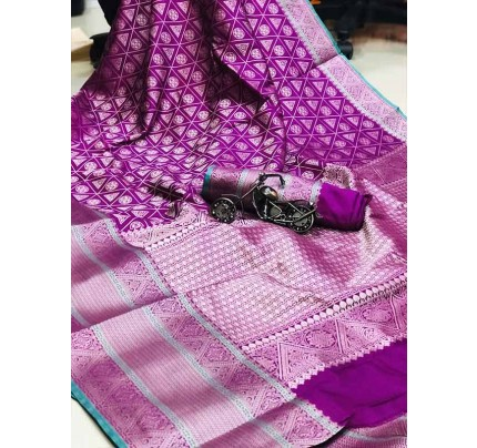 Purple Color Banarasi Silk Saree Jacquard with Reach Pallu